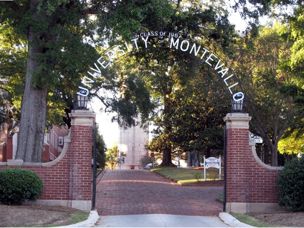University of Montevallo entrance with its brick streets and the tower in the background