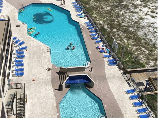 New pool deck design at Phoenix East in Orange Beach