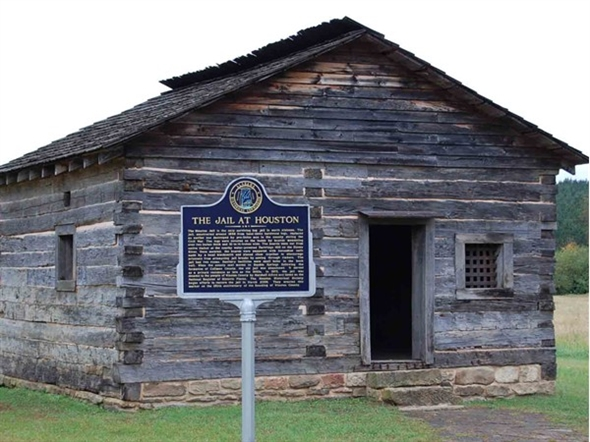 Houston Jail est  1868  The second oldest surviving log jail in America