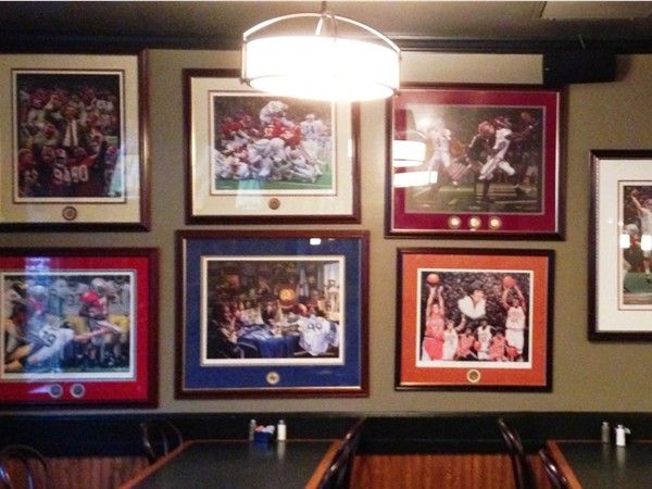 There are tons of sports memorabilia posters to feast your eyes upon while dining at Ragtime Cafe.
