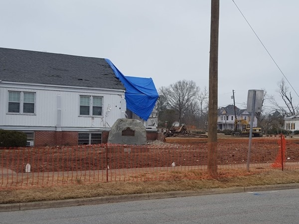 The site of the First Presbyterian Church after the F2 tornado of January 19, 2019