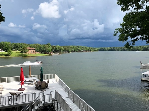 Stormy sky on Lake Wedowee doesn't stop the fun!  Come visit and see the lake year round