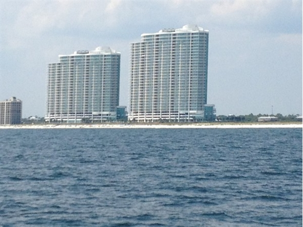 Great view of the South side of Turquoise Place from aboard the Wildhearts Catamaran.