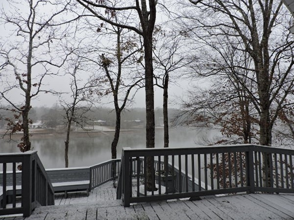 Snowy day on Lake Wedowee is as pretty as the bright summer days!  Little chilly for boat rides