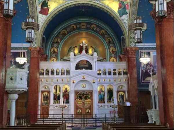Malbis Memorial Church has many intricate mosaics and paintings