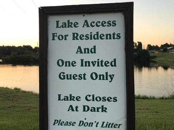 Harper Creek lake for residents