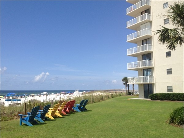 Pick your favorite beach chair at Seaside Beach and Racquet Club in Orange Beach