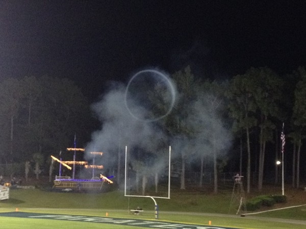 FHS Pirates score! How can you tell? A cannon fires from the pirate ship!